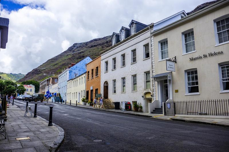 Mantis St Helena Hotel. ST HELENA ISLAND, SOUTH ATLANTIC - APRIL 2 2018: Mantis St Helena Hotel and looking along picturesque Main Street of Jamestown on remote stock photo
