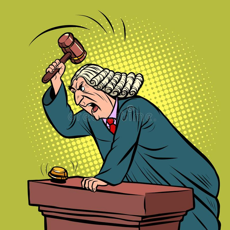 Mantle judge adjudicates in courtroom. Pop art retro vector illustration drawing stock illustration