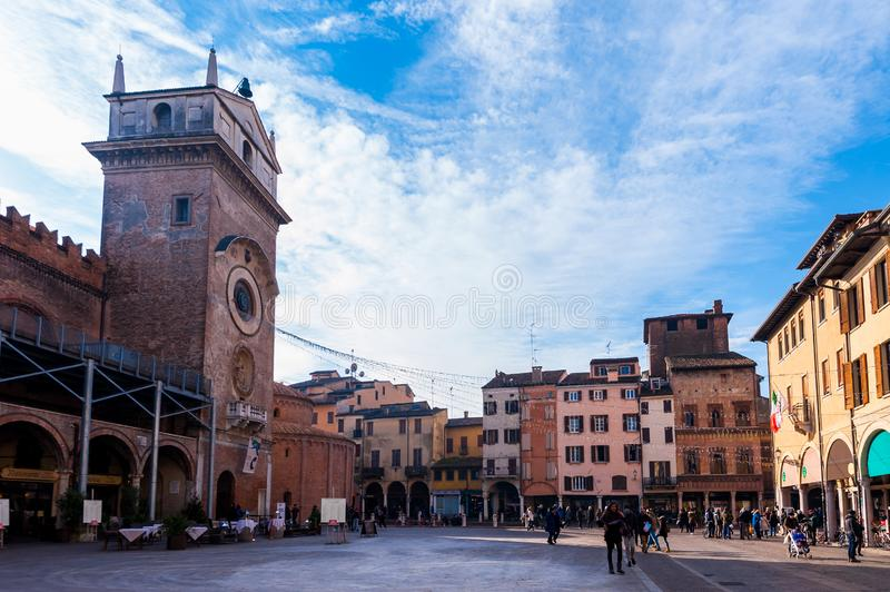 Mantova, Italy - January 5 2018 : View of Piazza delle Erbe, Mantua, Lombardy, Italy stock photography