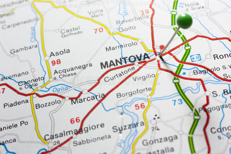 Mantova Italy On A Map royalty free stock photos