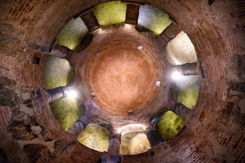 MANTUA: Rotonda di San Lorenzo church and Clock tower in Mantua Mantova. Italy. MANTUA: the Rotonda di San Lorenzo it is the oldest church in the city, founded royalty free stock image