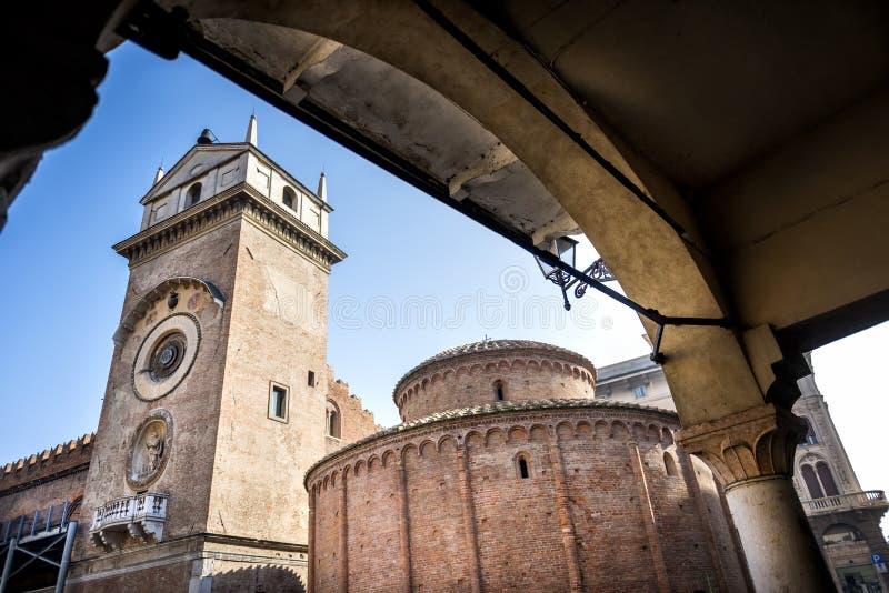MANTUA: Rotonda di San Lorenzo church and Clock tower in Mantua Mantova. Italy. MANTUA: the Rotonda di San Lorenzo it is the oldest church in the city, founded royalty free stock photo