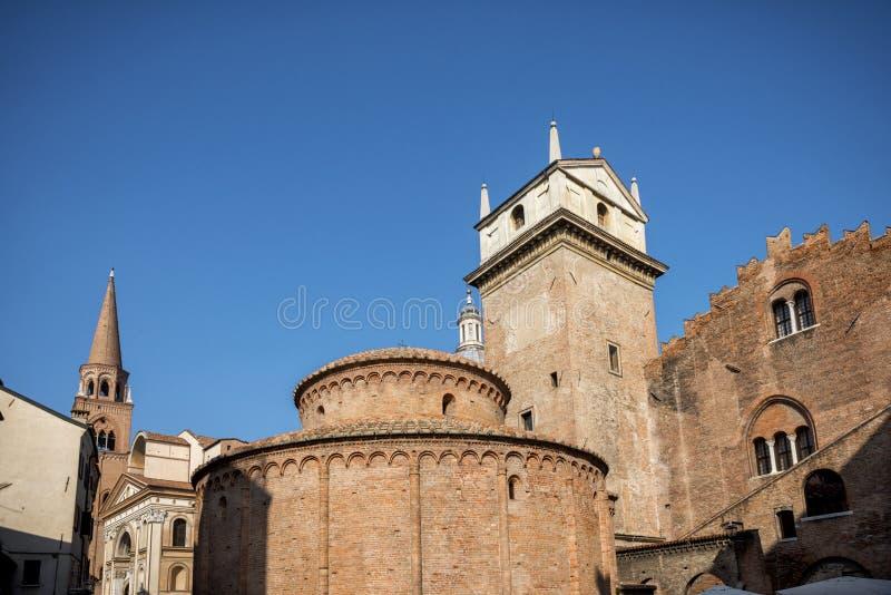 MANTUA: Rotonda di San Lorenzo church and Clock tower in Mantua Mantova. Italy. MANTUA: the Rotonda di San Lorenzo it is the oldest church in the city, founded stock images