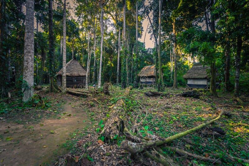 Manu National Park, Perù - 7 agosto 2017: Casette della giungla di Coc immagini stock libere da diritti
