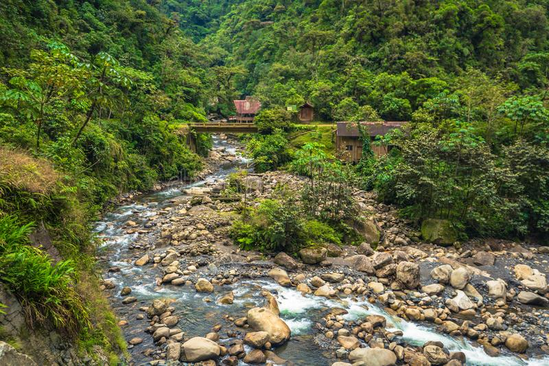 Manu National Park, Peru - August 05, 2017: Jungle lodge by a. Manu National Park, Peru - August 05, 2017: A jungle lodge by a river in Manu National Park, Peru royalty free stock image