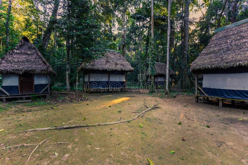 Manu National Park, Peru - August 07, 2017: Jungle lodges of Cocha Otorongo in the Amazon rainforest of Manu National Park, Peru. Manu National Park, Peru stock images