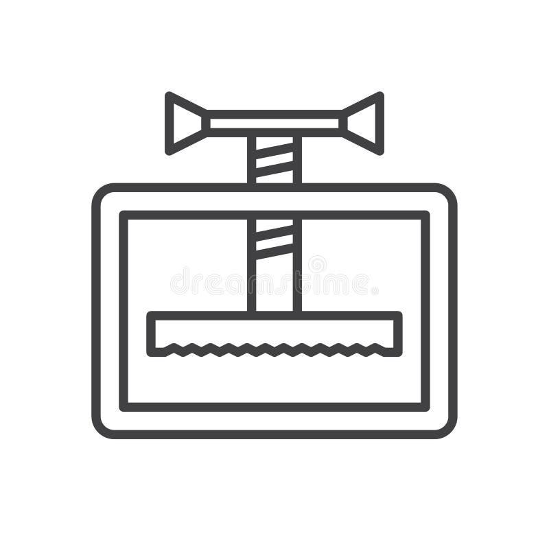 Manuał maszyny linii prasowa ikona, konturu wektoru znak, liniowy stylowy piktogram odizolowywający na bielu ilustracja wektor