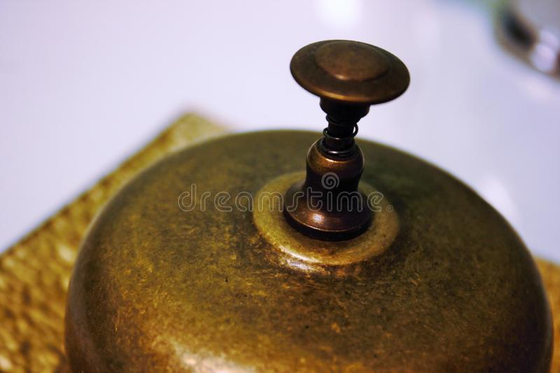 manual bell used in receptions to alert royalty free stock photography