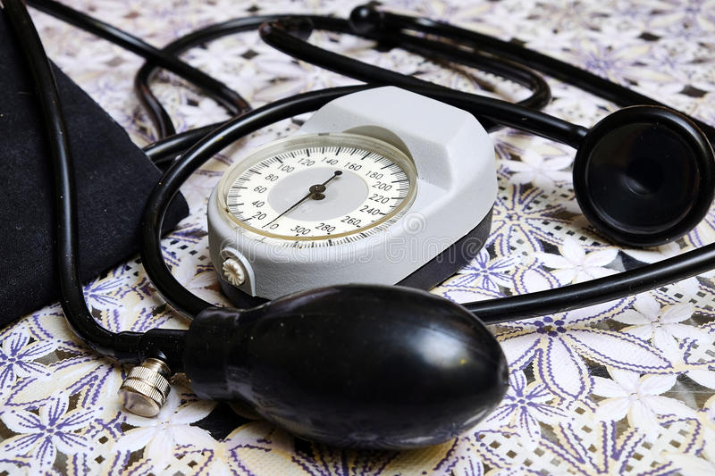 Manual blood pressure monitor stock photography