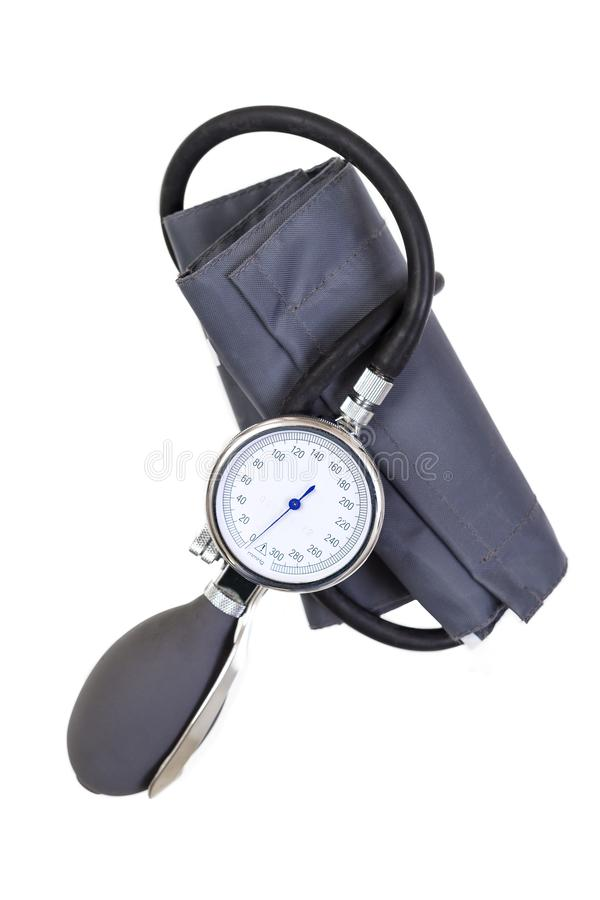 Manual blood pressure sphygmomanometer isolated on white background stock image
