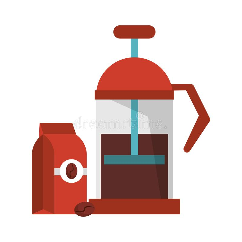Manual coffee maker coffeeshop equipment. With bag hot or warm drink vector illustration graphic desing royalty free illustration