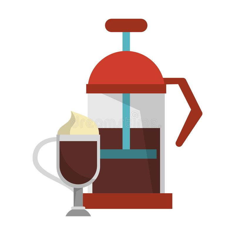 Manual coffee maker coffeeshop equipment. Sweet drink with whipped cream vector illustration graphic desing royalty free illustration