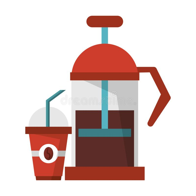 Manual coffee maker sweet drink. With lid and straw coffeeshop equipment vector illustration graphic desing stock illustration