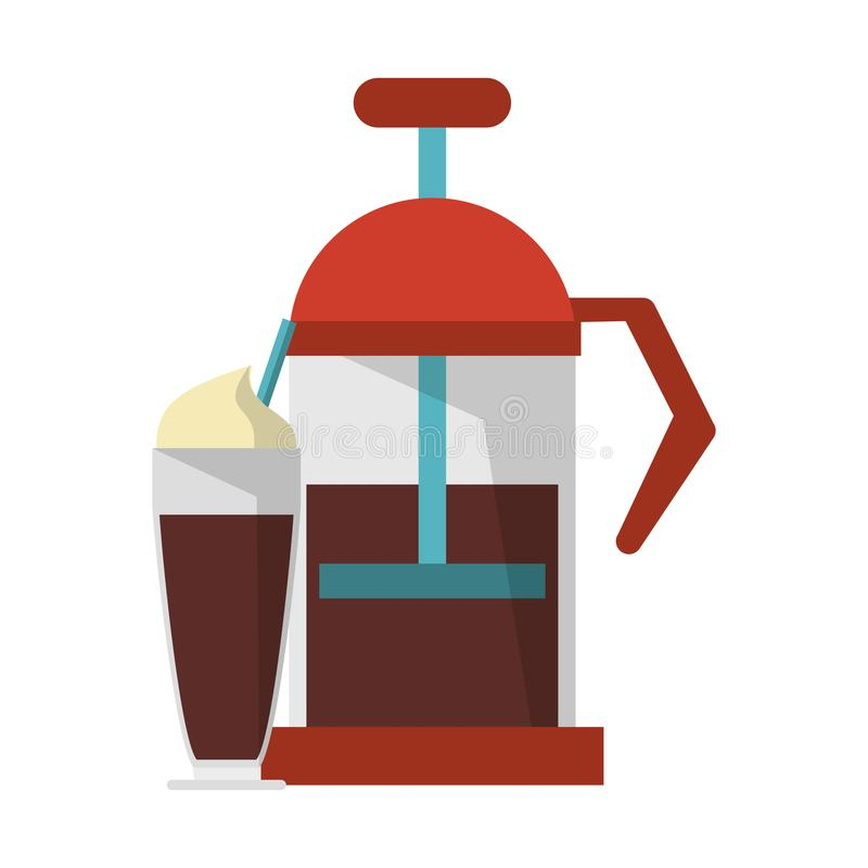Manual coffee maker sweet drink. Manual coffee maker wirh pump sweet drink with whipped cream coffeshop equipment vector illustration graphic desing vector illustration