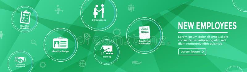 Manual de w do ícone do processo do empregado novo, lista de verificação, etc. ajustados de aluguer ilustração royalty free