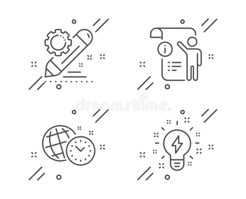 Manual doc, Project edit and Time management icons set. Inspiration sign. Project info, Settings, World clock. Vector. Manual doc, Project edit and Time stock illustration