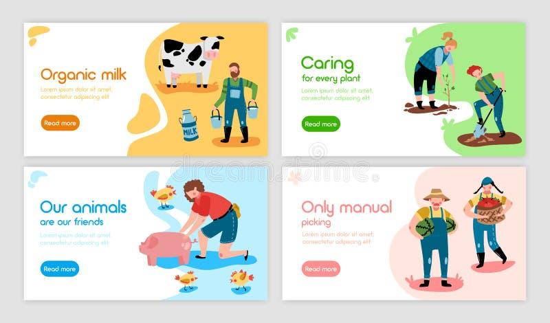 Manual Farming Horizontal Banners stock illustration