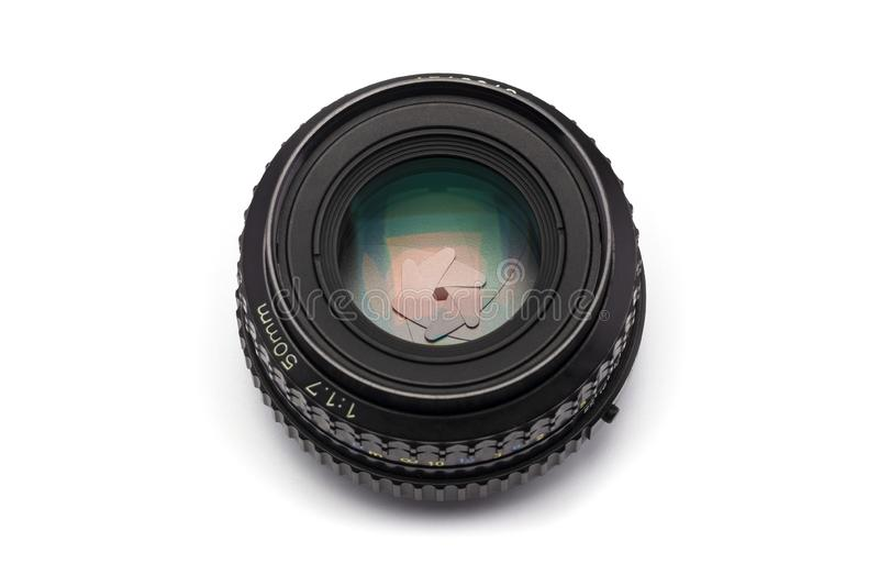The manual focus 50mm F/1.7 camera lens with narrow aperture royalty free stock photos