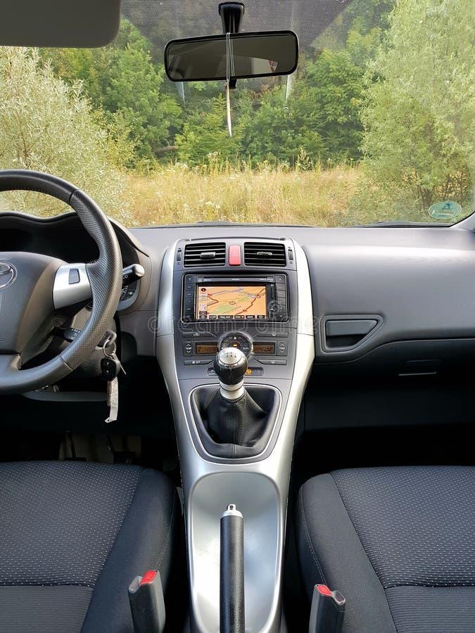 Manual gear transmission of Japanese car with big navigation display stock image