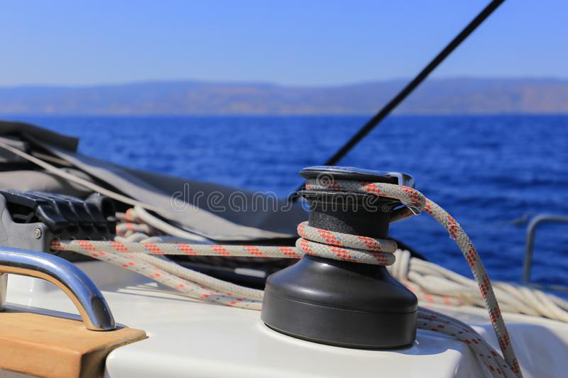 Halyard winch on a sailing yacht royalty free stock image