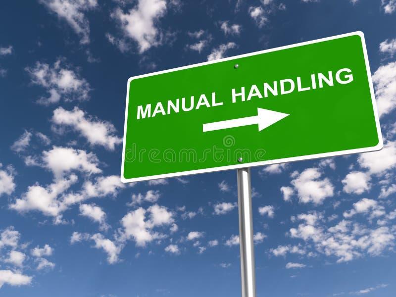 Manual handling traffic sign. On blue sky stock illustration