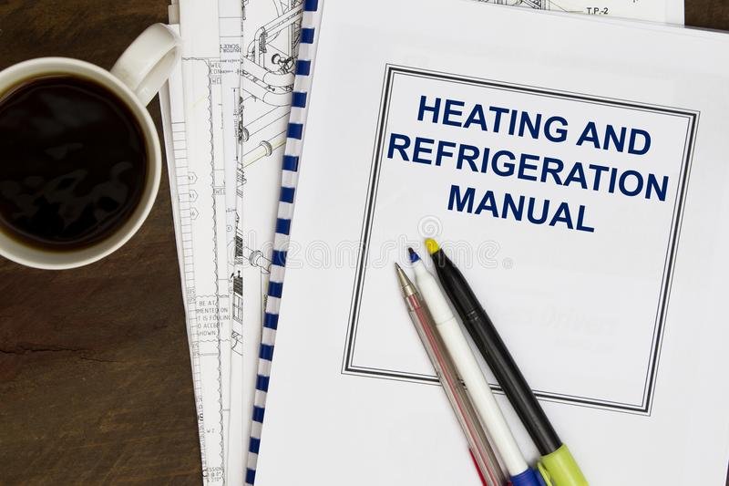 Manual for heating and refrigeration code concept royalty free stock images