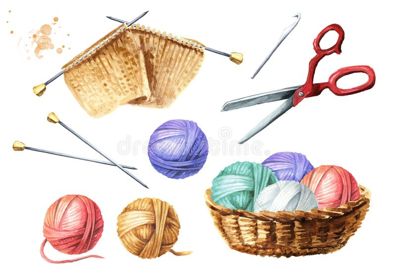 Manual knitting set. Balls of thread, needles, crochet hook, scissors, unfinished knitted product. Watercolor hand drawn stock illustration