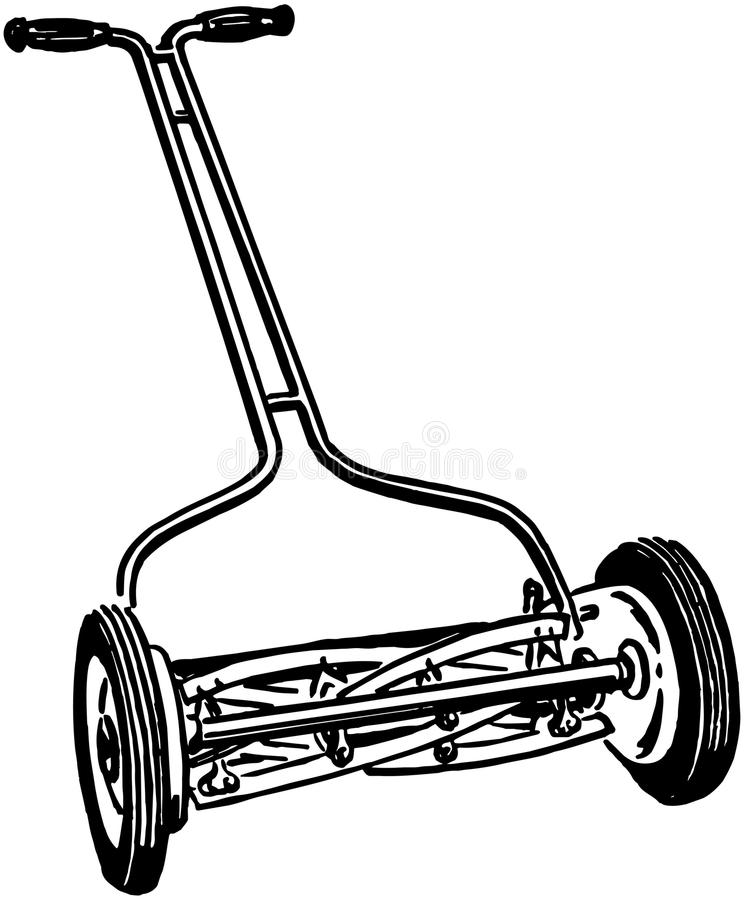 Manual Lawn Mower royalty free illustration