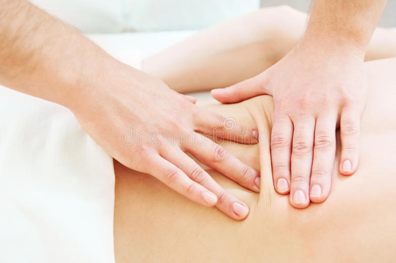 Manual medical massage technique royalty free stock image