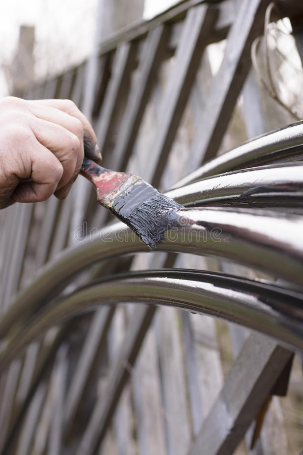 Manual painting pipes stock photo