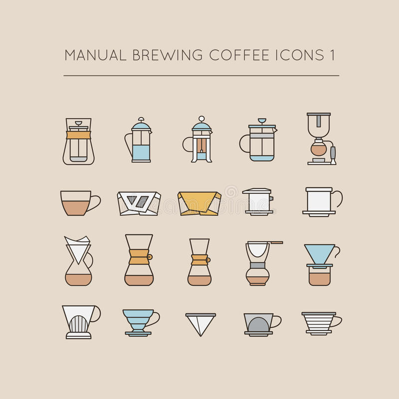 Manual que prepara los iconos 1 del café libre illustration