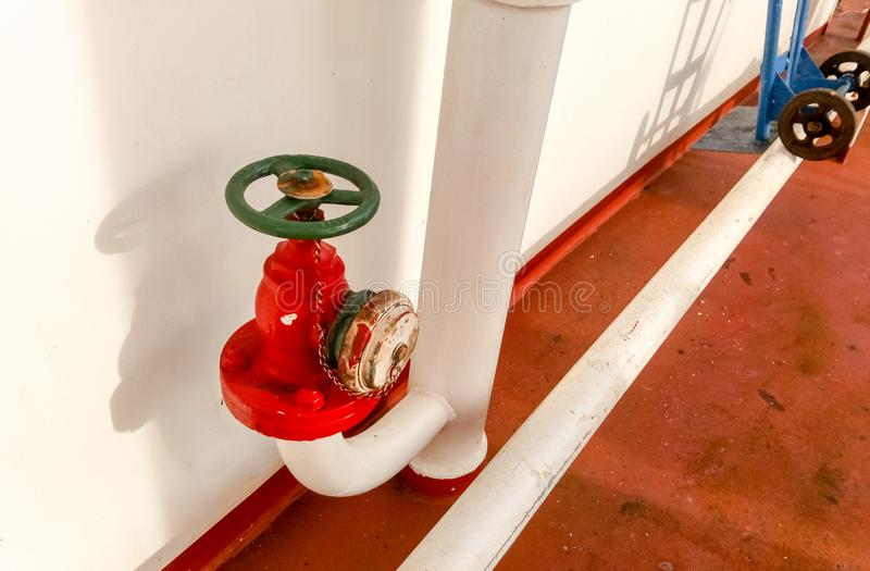 Manual shut-off valve of the outlet pipe of the water supply line of the fire-fighting royalty free stock images