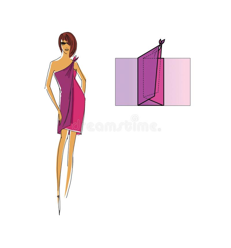Manual to make a top of a scarf or pareo. Design drawing and pareo addition scheme. Manual to make a top of a scarf or pareo. Step by Step Guide. Design drawing vector illustration