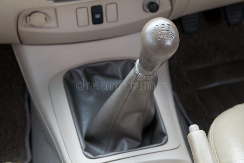 Manual transmission gear shift. Car interior. manual transmission gear shift stock image