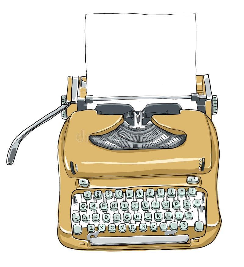 Manual typewriter keyboard portable vintage stock illustration