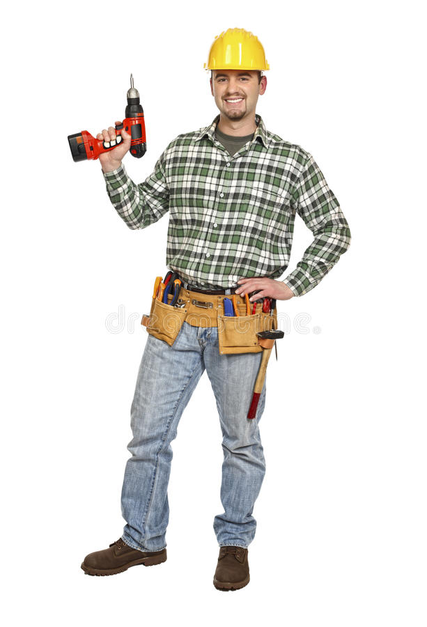 Download Manual worker with drill stock photo. Image of happy - 13675454