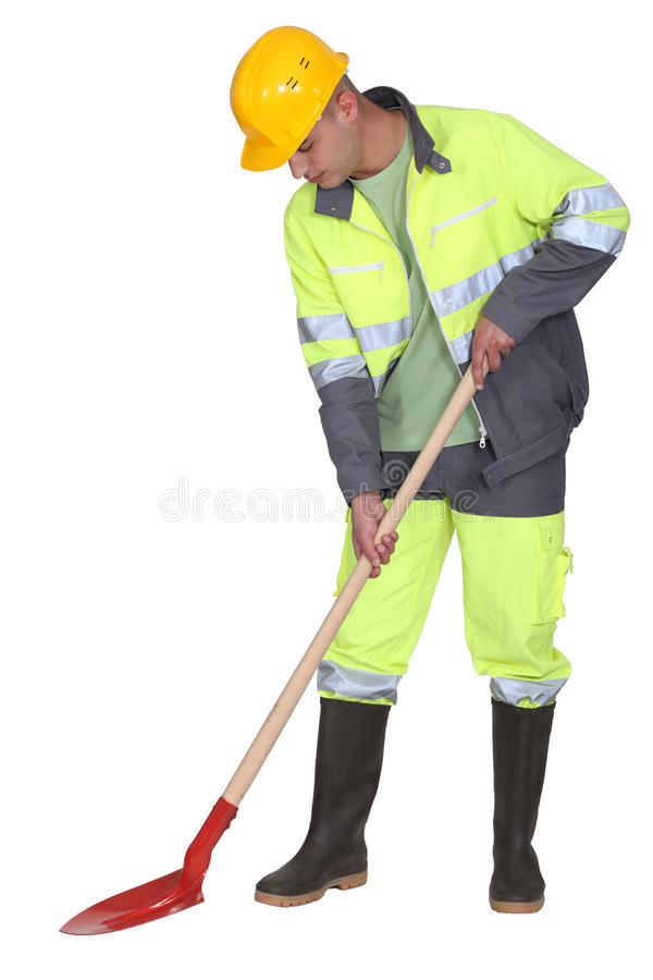 Manual worker with spade stock photography