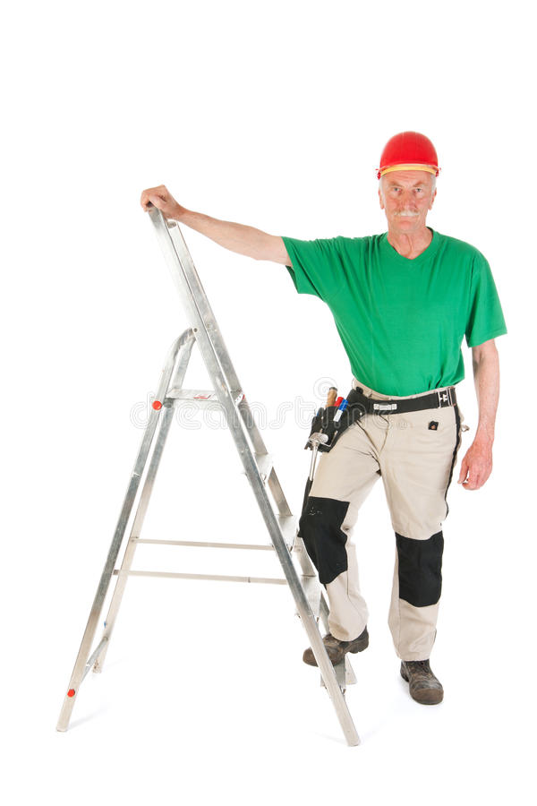 Download Manual Worker With Stepladder Stock Image - Image: 33487277