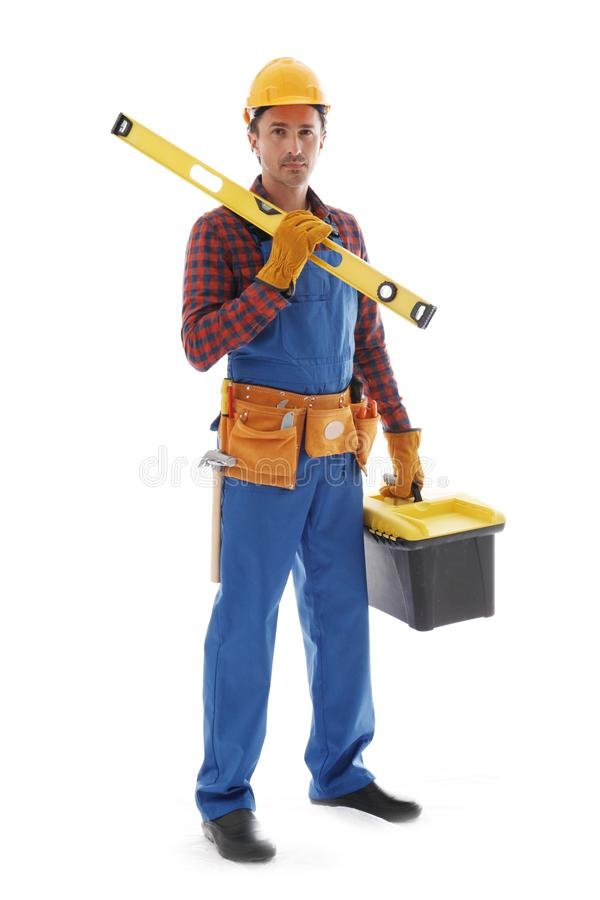 Manual worker on white royalty free stock photo