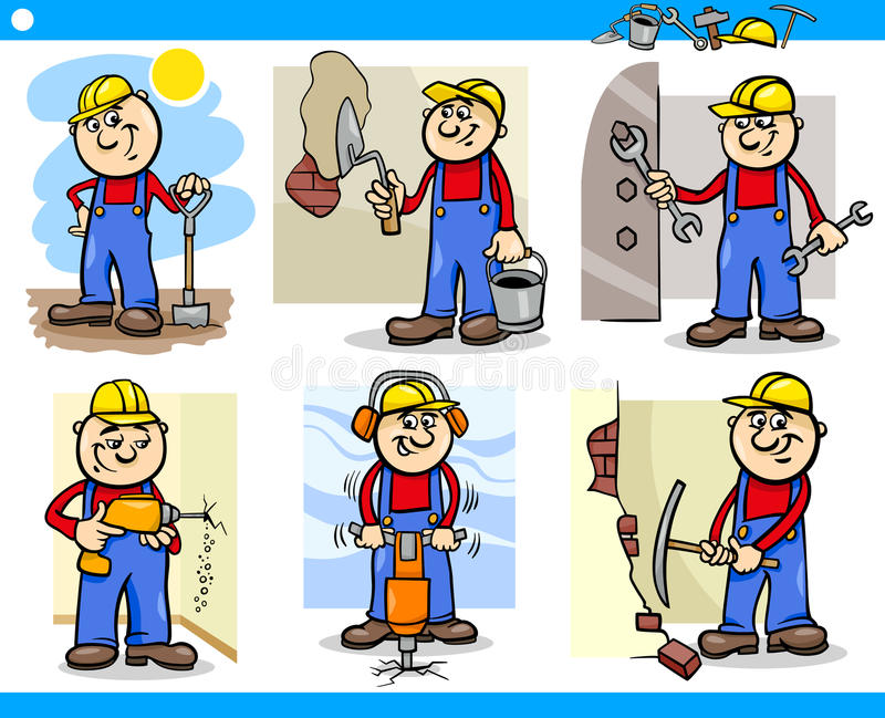 Download Manual Workers Or Workmen Characters Set Stock Image - Image: 32048531