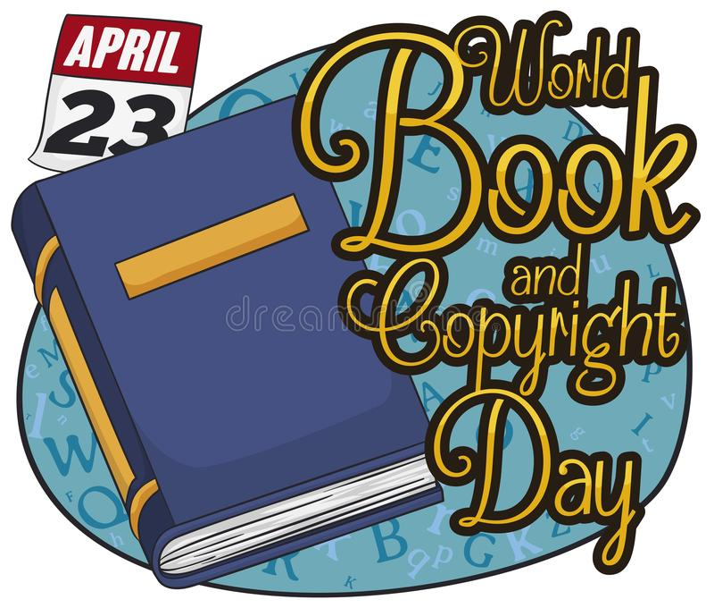 Manuale, calendario e segno con le lettere celebrare giorno del libro, illustrazione di vettore illustrazione di stock