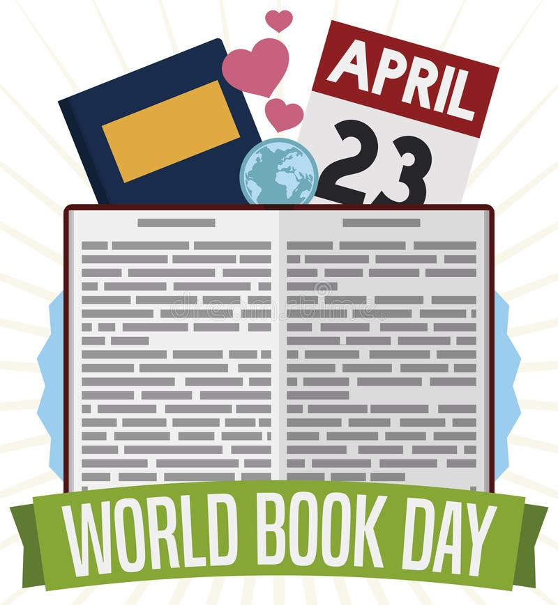 Manuale con il globo, i cuori ed il calendario per il giorno del libro del mondo, illustrazione di vettore royalty illustrazione gratis