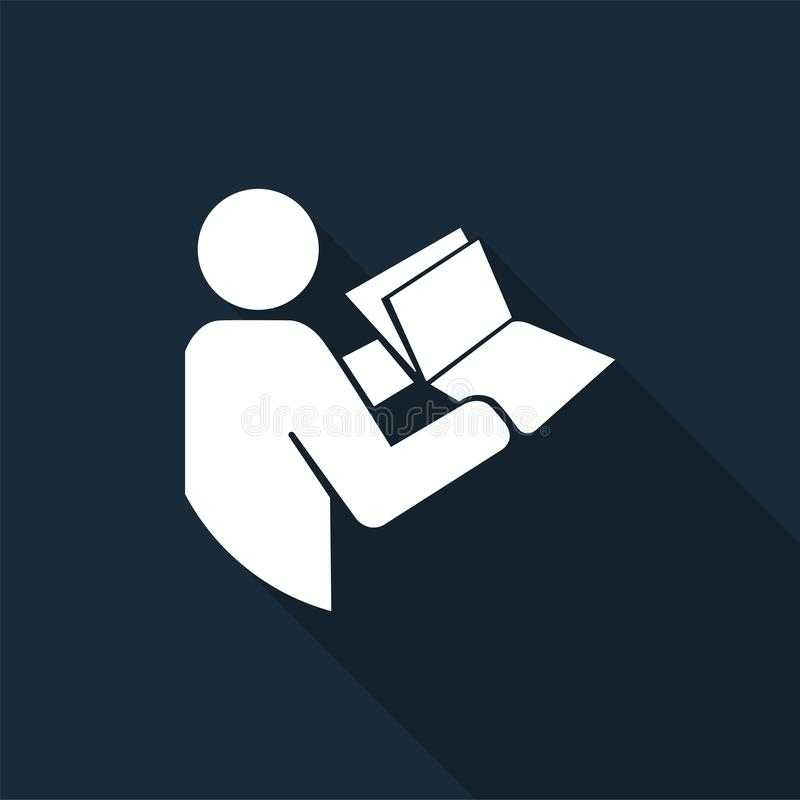 Manuale tecnico colto prima del simbolo d'assistenza su fondo nero, illustrazione di vettore illustrazione di stock