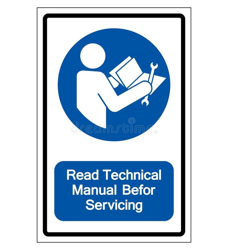Manuale tecnico colto prima dell'assistenza del segno di simbolo, illustrazione di vettore, isolato sull'etichetta bianca del fon illustrazione di stock