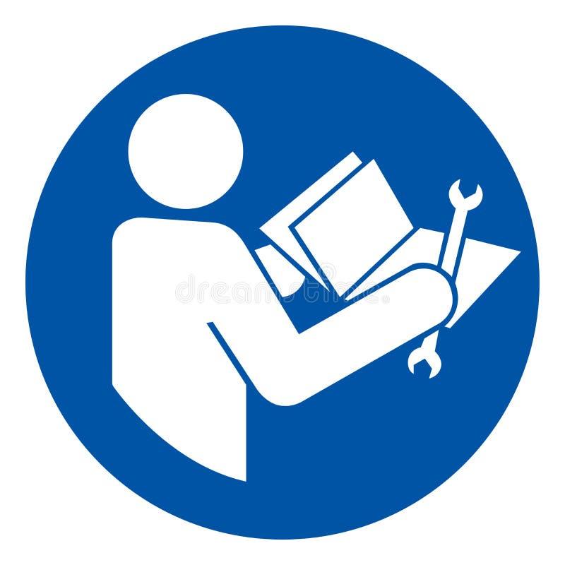 Manuale tecnico colto prima dell'assistenza del segno di simbolo, illustrazione di vettore, isolato sull'etichetta bianca del fon royalty illustrazione gratis