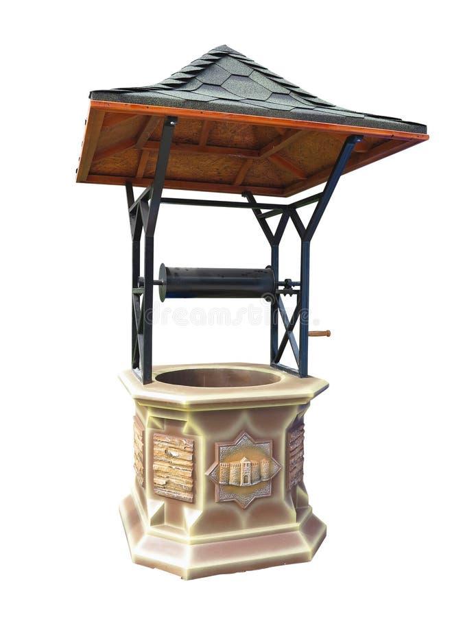 Manuale tradizionale con il tetto metallico isoalted pozzo d'acqua sopra w fotografia stock libera da diritti