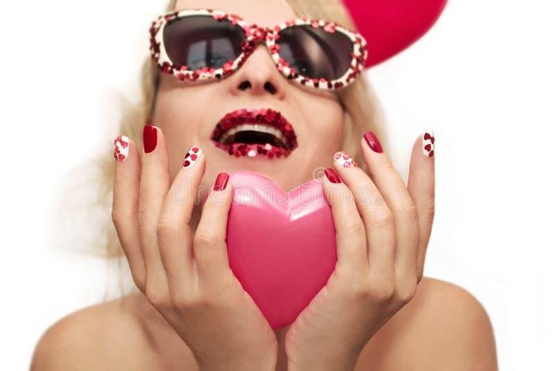 Manucure avec des coeurs images stock