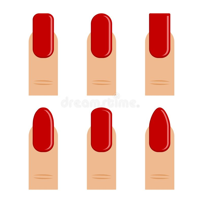 manucure Placez du doigt avec le vernis à ongles rouge, ongle différent de formes Illustration de vecteur illustration libre de droits
