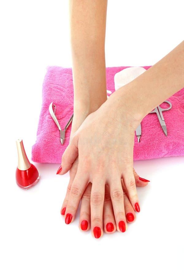 Manucure rouge photo libre de droits