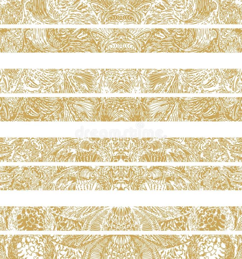 Manueel getrokken traditionele decoratieve patroondetails, digitaal remastered, in gouden kleur royalty-vrije illustratie